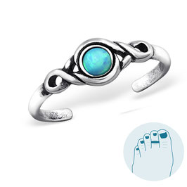 Silver Toe Ring Opal Azure