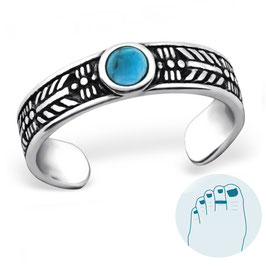 Silver Toe Ring Turquoise Dream