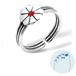 Silver Toe Ring Fleur Rouge