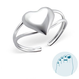 Silver Toe Ring Big Heart