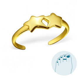 Silver Toe Ring Stars Goldplated