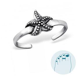 Zilveren Teenring Starfish
