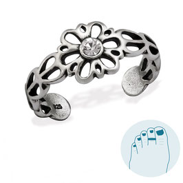 Silver Toe Ring Victorian Flower White