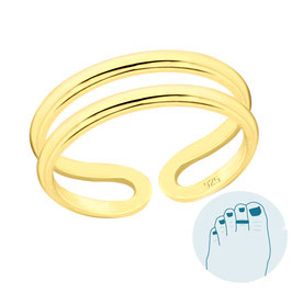 Silver Toe Ring Dua Gold