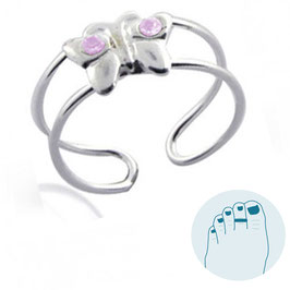 Silver Toe Ring Butterfly Lavender