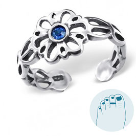 Silver Toe Ring Victorian Flower Blue