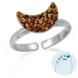 Silver Toe Ring Crescent Moon Brown