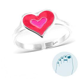 Silver Toe Ring Pink Heart of Enamel