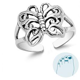 Silver Toe Ring Kupu Kupu
