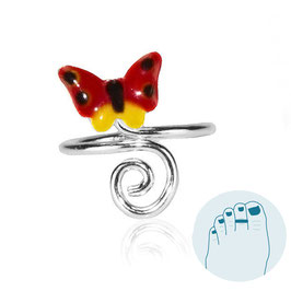 Zilveren Teenring Butterfly and Curl Red