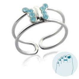 Zilveren Teenring Papillon Aquablauw