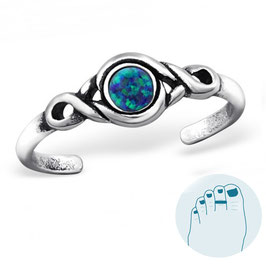 Zilveren Teenring Opal Turquoise