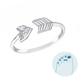 Silver Toe Ring Shooting Arrow