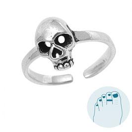 Zilveren Teenring Skull