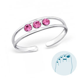 Silver Toe Ring Emillia Pink