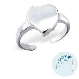 Silver Toe Ring Cuore