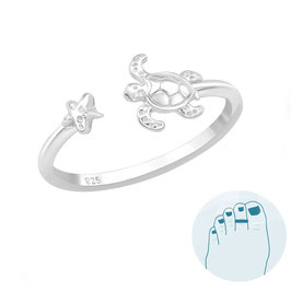 Silver Toe Ring Turtle and Starfish