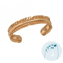 Zilveren Teenring Feather Rosegold