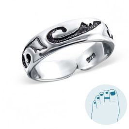 Silver Toe Ring Hieroglyphs