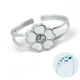 Zilveren Teenring Witte Bloem met Kristal