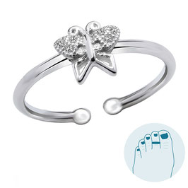 Silver Toe Ring Sparkling Butterfly
