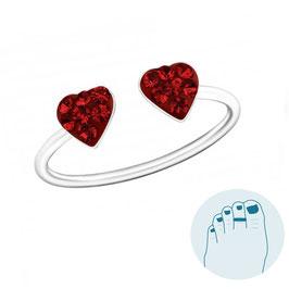 Zilveren Teenring Red Hearts