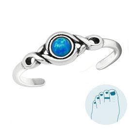 Silver Toe Ring Opal Dark Blue