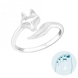 Zilveren Teenring Foxy