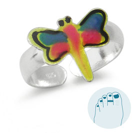 Silver Toe Ring Yellow and Blue Butterfly