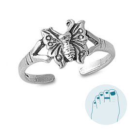 Silver Toe Ring Mariposa