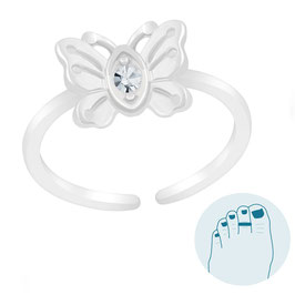 Silver Toe Ring Lovely Butterfly