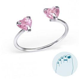 Zilveren Teenring Pink Hearts