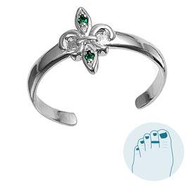 Silver Toe Ring Fleur de Lis