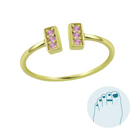 Silver Toe Ring Loretta Pink Gold