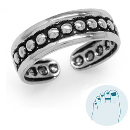 Silver Toe Ring Dots