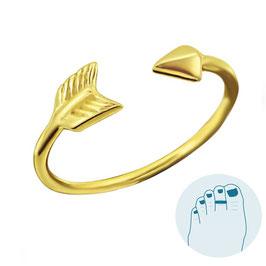 Zilveren Teenring Arrow Gold