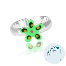 Zilveren Teenring Estrella Green