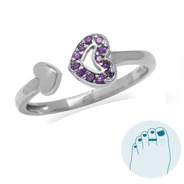 Silver Toe Ring Purple Heart