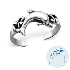 Silver Toe Ring Dolphin in the Sea