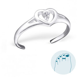 Silver Toe Ring Heart and CZ