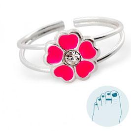 Silver Toe Ring Fleur Rose