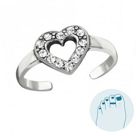 Silver Toe Ring Shiny Heart