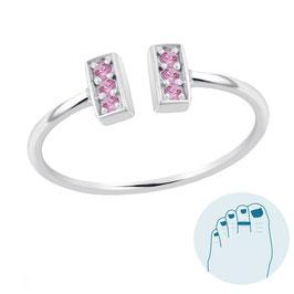 Silver Toe Ring Loretta Pink