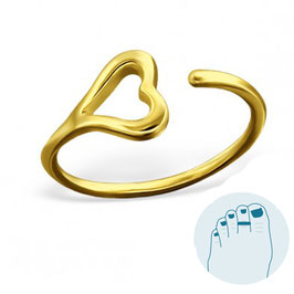 Silver Toe Ring Solo Heart Goldplated