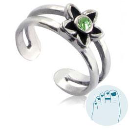 Zilveren Teenring Estee Green