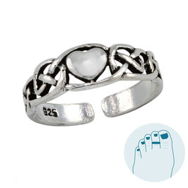 Silver Toe Ring Celctic Heart