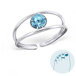 Silver Toe Ring Debrah Blue