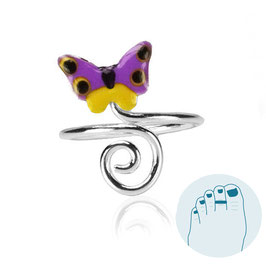 Zilveren Teenring Butterfly and Curl Purple