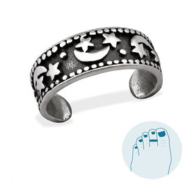 Silver Toe Ring Moon and Stars