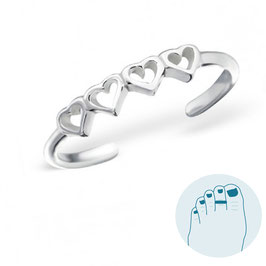Silver Toe Ring Kind Hearts